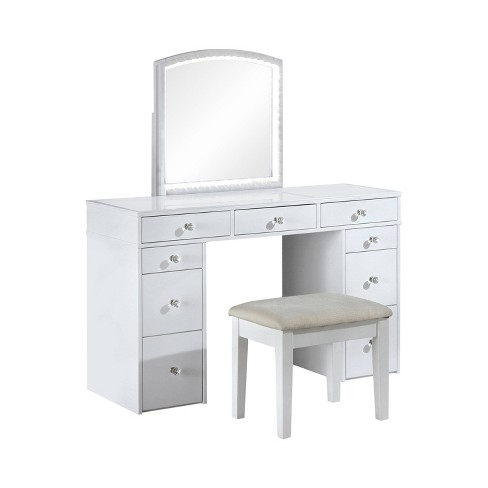 With Stool White Homes Inside Out, Black Vanity Set With Light Up Mirror