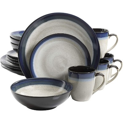 Gibson 91547.16RM Elite Couture Bands Embossed Glazed Durable 16-Piece Dinnerware Set, Microwave and Dishwasher Ready, Blue