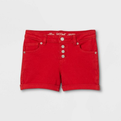 Girls' Button-Front Jean Shorts - Cat & Jack™ Red