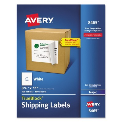 Avery® 08465, Shipping Labels with Ultrahold Ad & TrueBlock, Inkjet, 8 1/2 x 11, White, 100/Box