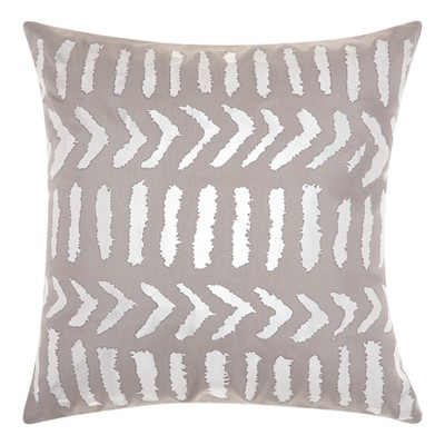 Industrial Grey Tribal Design Throw Pillow - Mina Victory