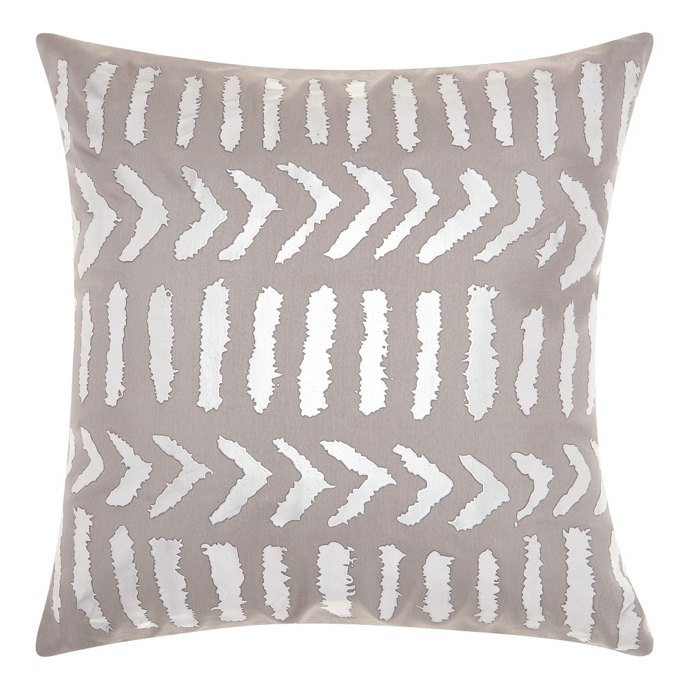 Image of Industrial Gray Tribal Design Throw Pillow - Mina Victory