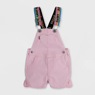 Levi's® Baby Girls' Logo Strap Denim Shortalls - Pink