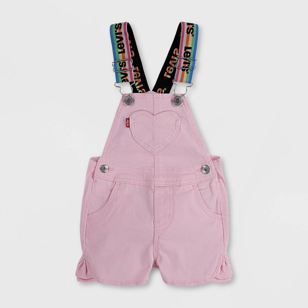 Levi 39 S 174 Baby Girls 39 Logo Strap Denim Shortalls Pink 6m