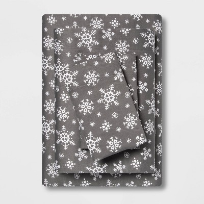 Queen Holiday Print 100% Cotton Sheet Set Snowflakes - Wondershop™