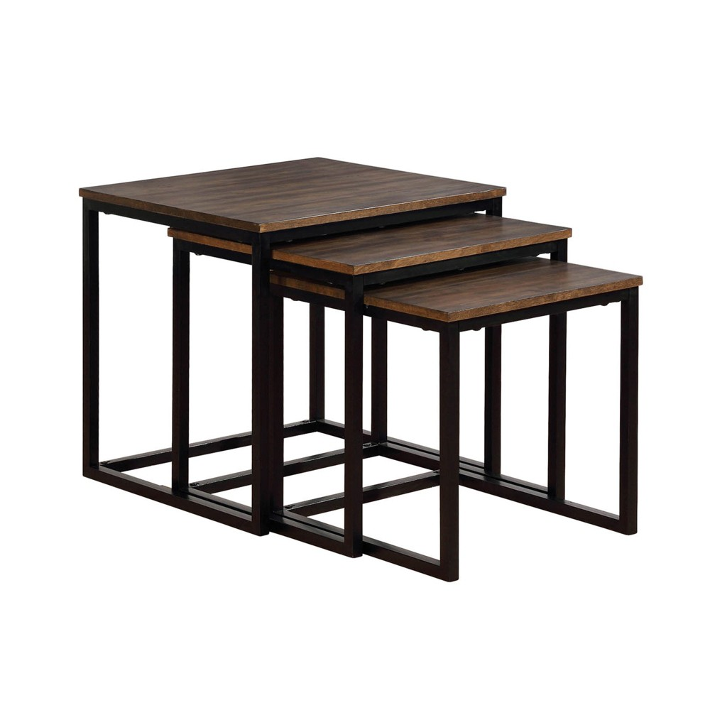 24 Arcadia Acacia Wood Square Nesting End Tables Antiqued Mocha - Alaterre Furniture