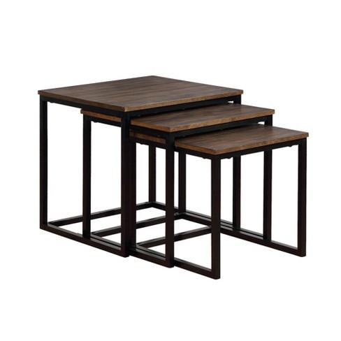 Peachy 24 Arcadia Acacia Wood Square Nesting End Tables Antiqued Mocha Alaterre Furniture Download Free Architecture Designs Intelgarnamadebymaigaardcom