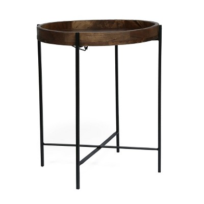 Tift Handcrafted Modern Industrial Mango Wood Folding Tray Top Side Table Natural/Black - Christopher Knight Home