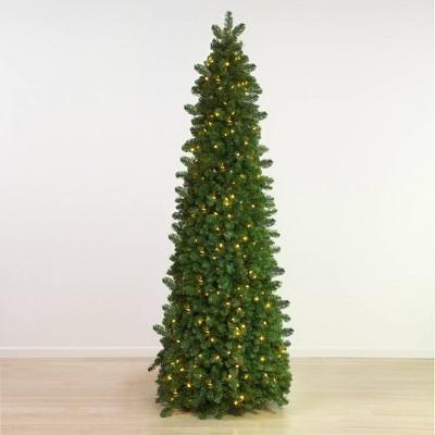 7.5ft Pre-lit LED Slim Natural Pine Artificial Christmas Tree - Easy Treezy