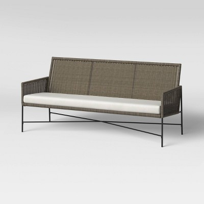 Wicker & Metal X Frame Patio Sofa - Gray - Threshold™ designed with Studio McGee