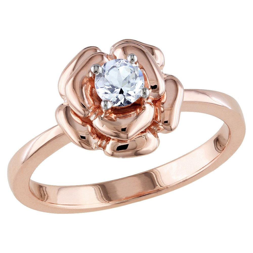 1/3 CT. T.W. Simulated White Sapphire Flower Ring in Pink Silver - 5 - White