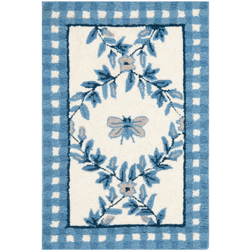 Bee Hooked Accent Rug Ivory/Blue