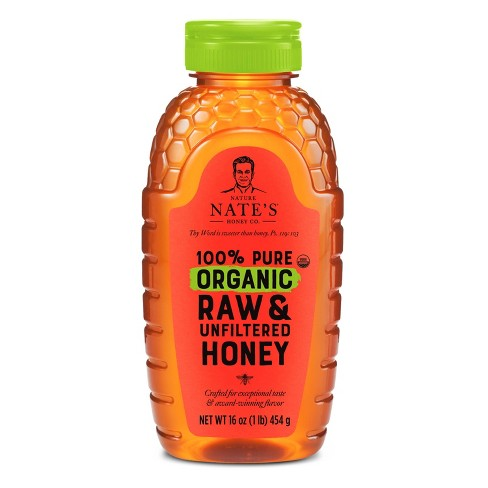 Nature Nate's 100% Pure Raw Unfiltered Organic Honey – 16oz - image 1 of 4