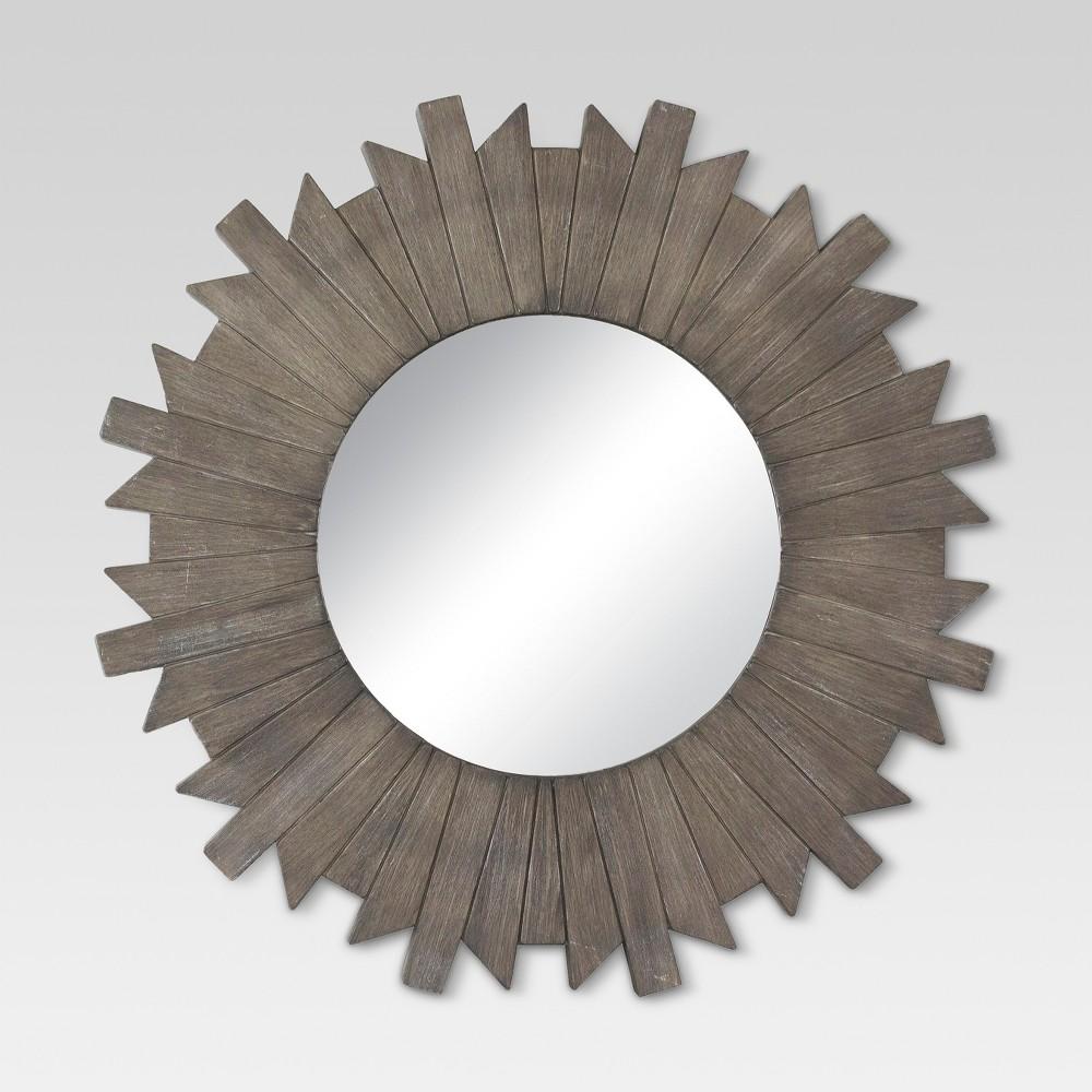 Sunburst Reclaimed Decorative Wall Mirror Gray 28 - Threshold