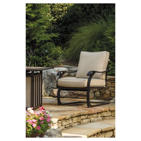 Wandon 4pk Metal Patio Spring Lounge Chairs Beige Brown Outdoor