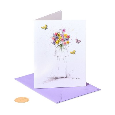 Mothers Day Card Girl with Bouquet - PAPYRUS