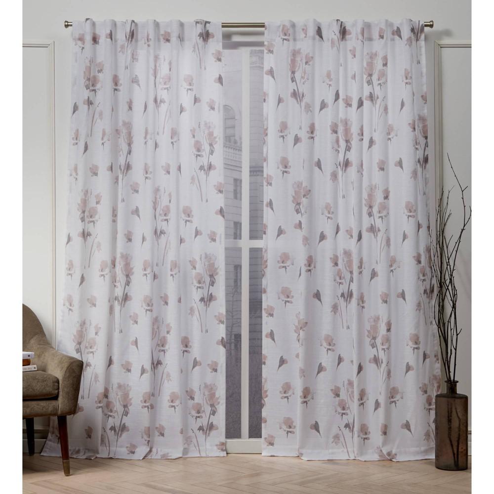 "Image of ""50""""x108"""" La Petite Fleur Back Tab Light Filtering Window Curtain Panels Blush Pink - Nicole Miller"""
