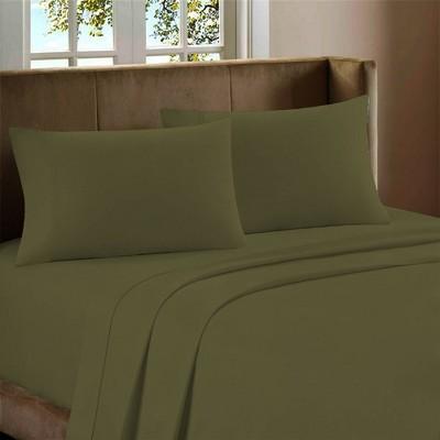Queen 600 Thread Count Cotton Rich Sateen Sheet Set Sage - Color Sense