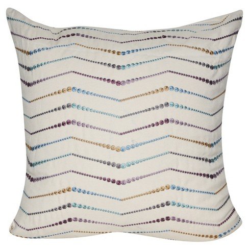 "Cream Embroidered Chevron Throw Pillow (22""x22"") - Loom & Mill - image 1 of 2"