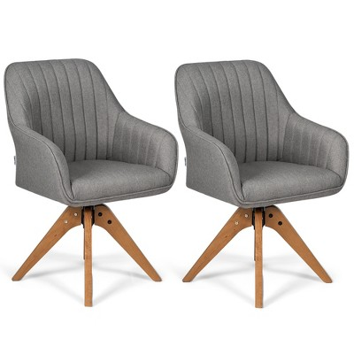 Costway Set of 2 Swivel Accent Chair Fabric Vanity Study ArmChair w/Wood Legs