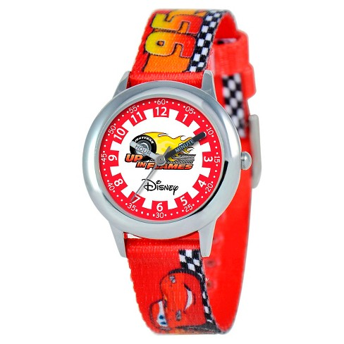Boys' Disney Cars Stainless Steel Time Teacher Watch - Red - image 1 of 2