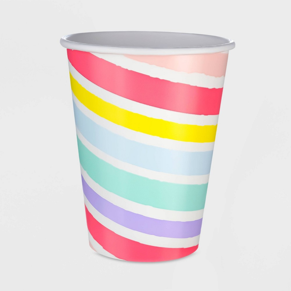 Image of 10ct 12oz Striped Pastel Paper Cup - Spritz