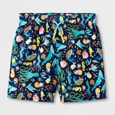 Toddler Boys' Under The Sea Swim Trunks - Cat & Jack™ Navy 3T