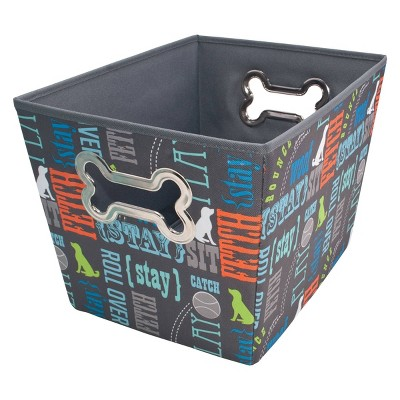 Paw Prints Bone Design Fabric Toy Bin Pet Apparel Storage
