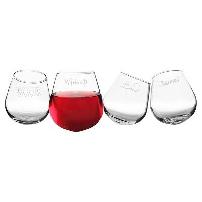 Halloween Tipsy Stemless Wine Glasses - 4ct