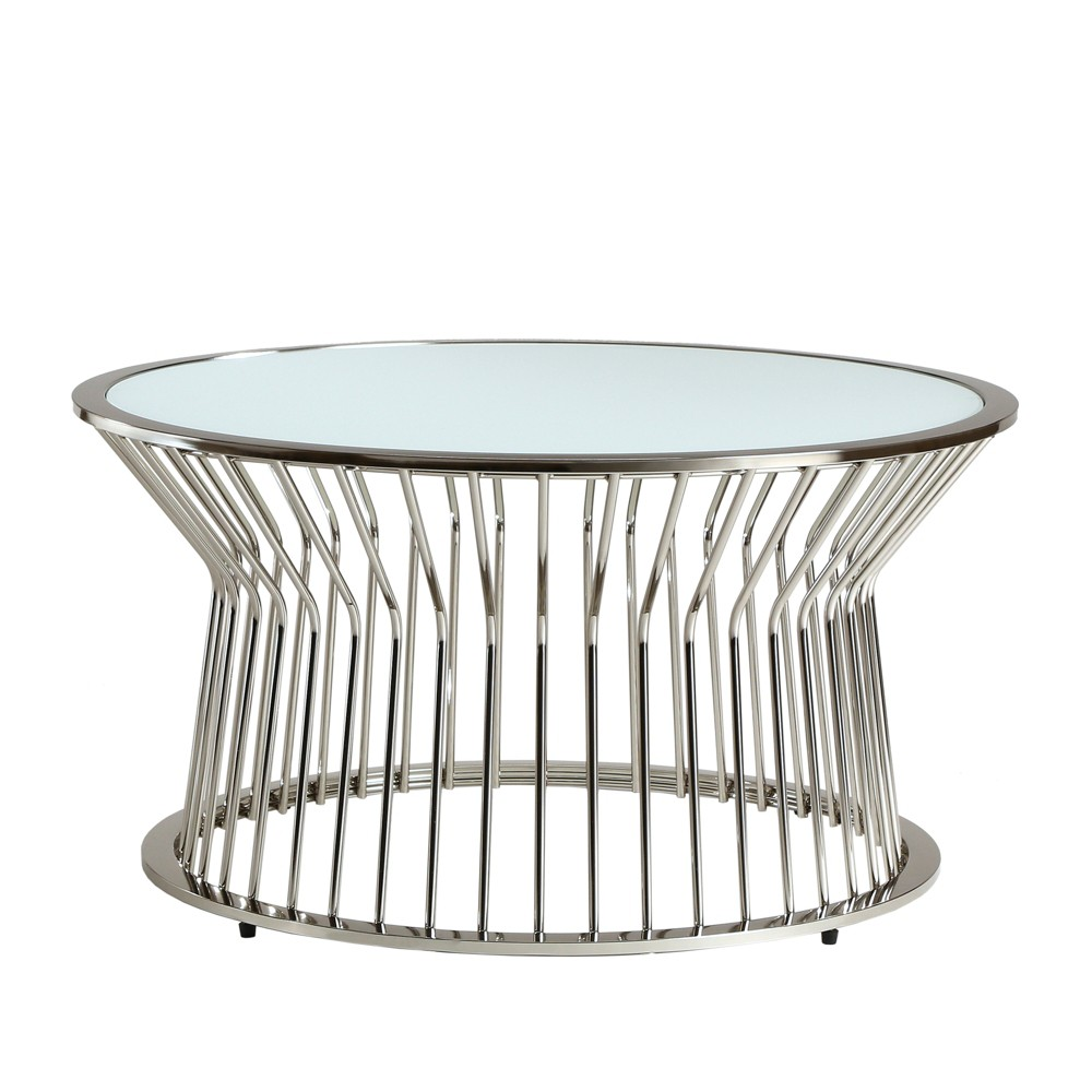 Angele Planter Cocktail Table Glass Top Drum Silver - Inspire Q
