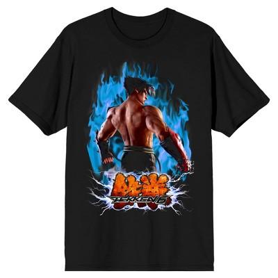 Men's Black Mortal Kombat T-shirt, Blue Flame Jin
