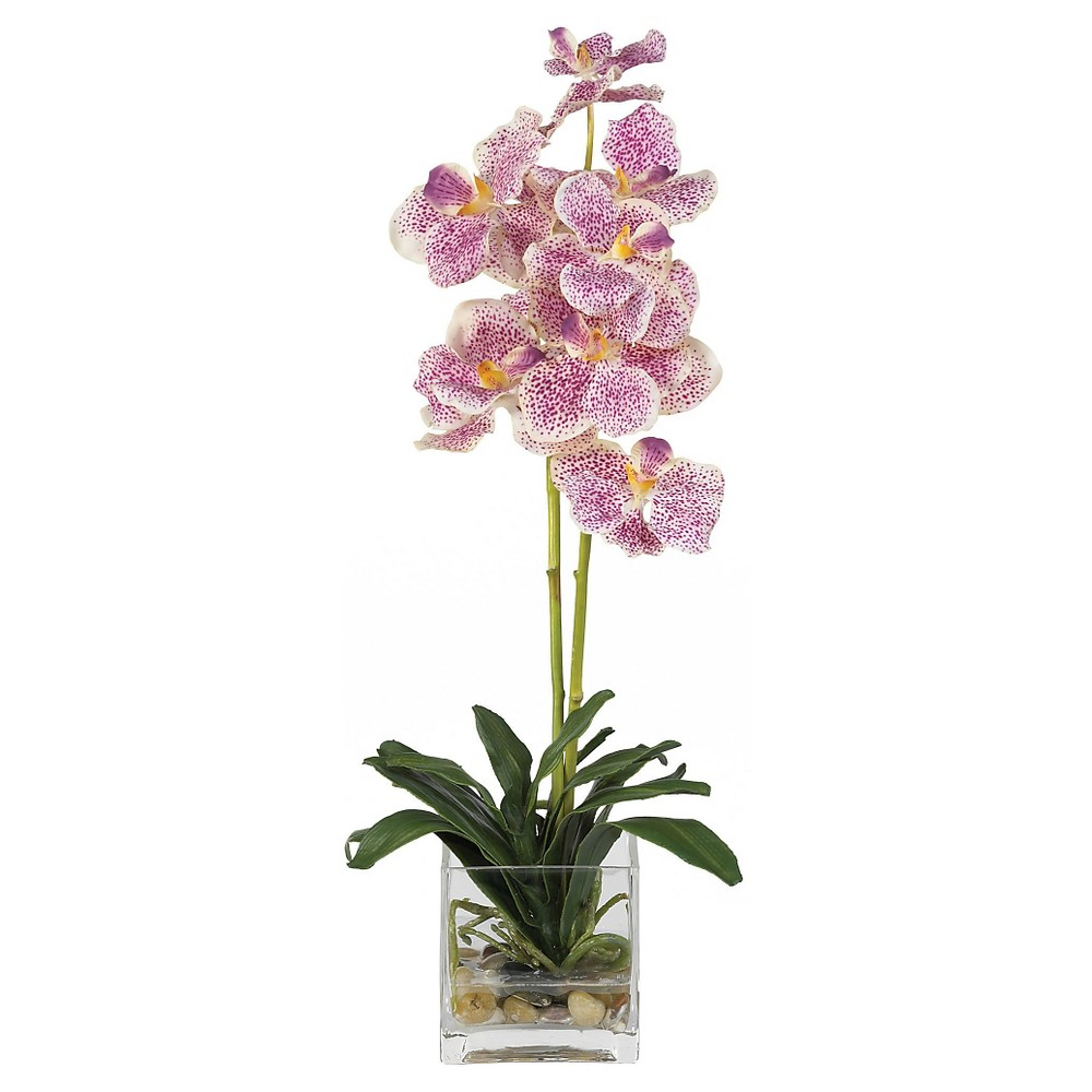 Nearly Natural Vanda with Glass Vase Silk Flower Arrangement Purple Treasure the beauty of these rare exotic Vanda orchids. Two slender stems filled with brightly speckled blossoms make this duo a treat to behold. Nestled in a bed of rich green leaves, these lovely flowers will provide you with years of care free pleasure. A square glass vase coupled with artificial water and river rock adds a handsome touch to this breathtaking arrangement. Color: Purple.