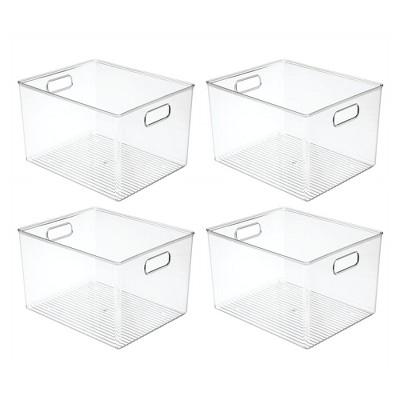 mDesign Plastic Kitchen Food Storage Organizer Bin, 4 Pack - Clear