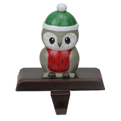 """Northlight 6"""" Red and Green Perched Owl Christmas Stocking Holder"""