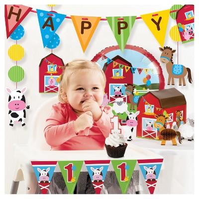 Farm Fun 1st Birthday Party Decorations Kit