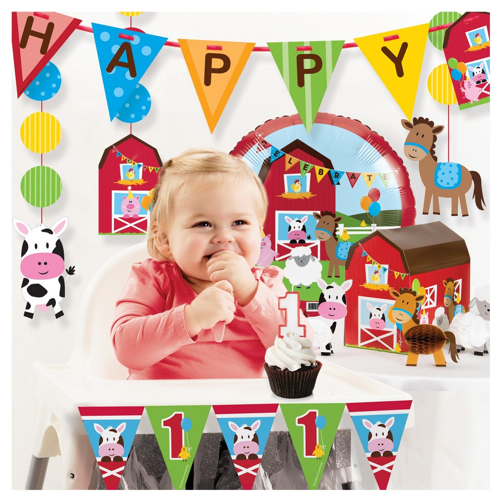 Image of Farm Fun 1st Birthday Party Decorations Kit