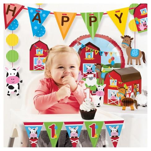 Farm Fun 1st Birthday Party Decorations Kit Target