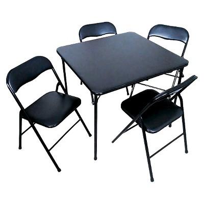 5 piece folding chair and table set black plastic target rh target com