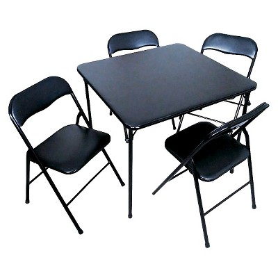 5 Piece Folding Chair And Table Set Black   Plastic Dev Group®