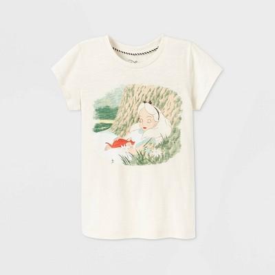 Girls' Disney Alice in Wonderland Short Sleeve Graphic T-Shirt - Beige - Disney Store