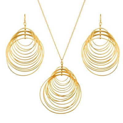 West Coast Jewelry  Crescent Necklace and Earring Jewelry Set - Gold