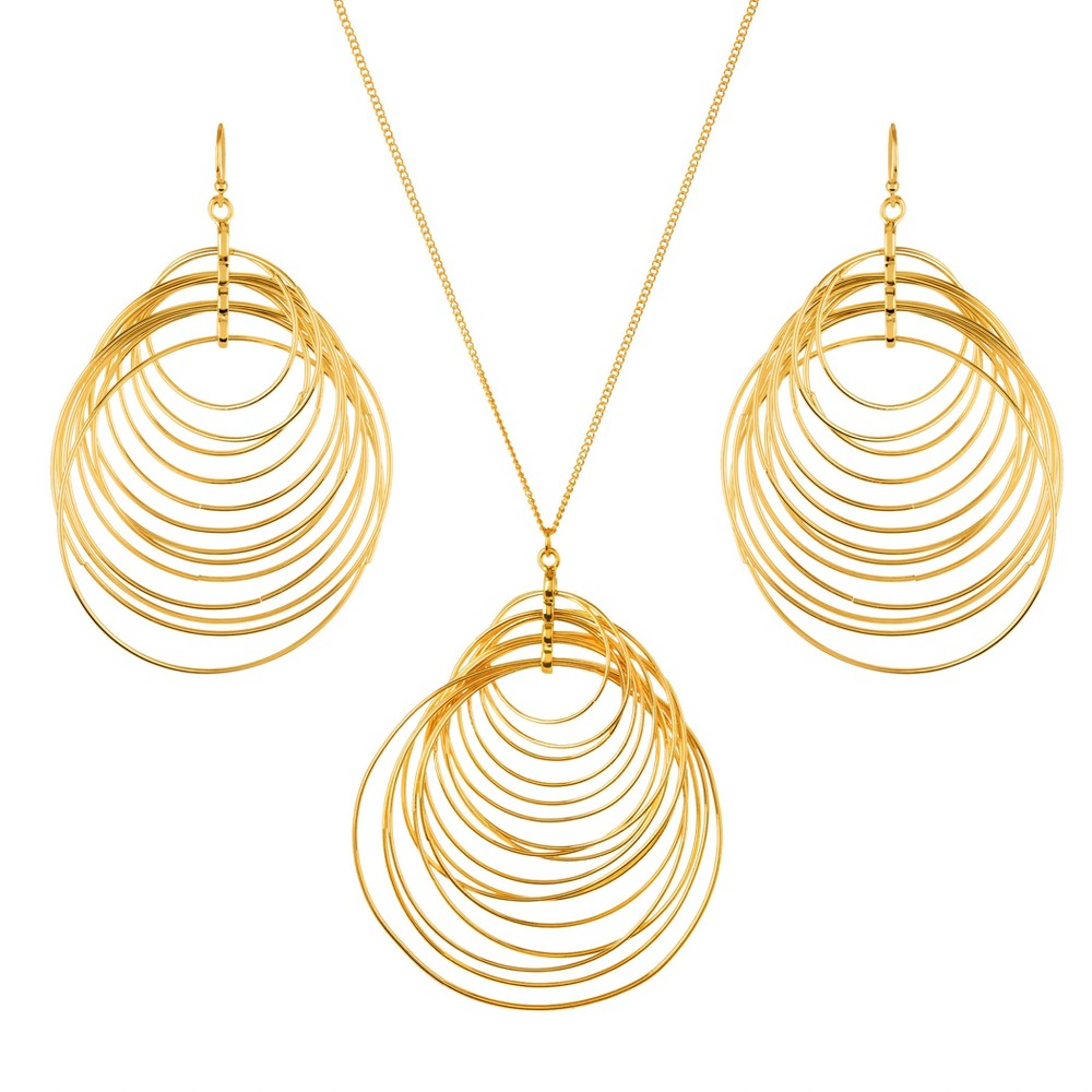 West Coast Jewelry Crescent Necklace and Earring Jewelry Set - Gold You'll love this Gold Fashion Necklace and Earrings set that's designed to complement any outfit. The pretty gold-chain necklace has a round drop pendant with a twirling design that matches the gold earrings perfectly. Instantly add a fun spark to your look by wearing these pieces together or mixing and matching with other jewelry. Gender: Female. Pattern: Spot.