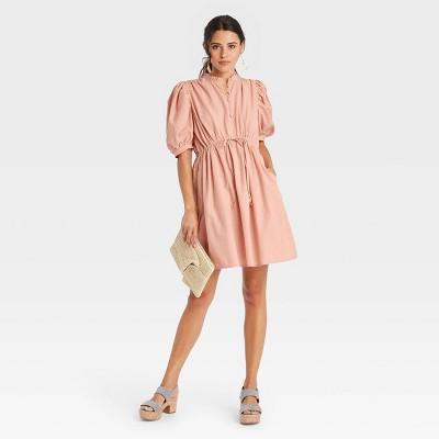 Women's Puff Elbow Sleeve Seersucker Dress - A New Day™