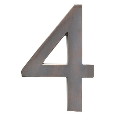 """Architectural Mailbox 4"""" Cast Floating House Number 4 Dark Copper"""