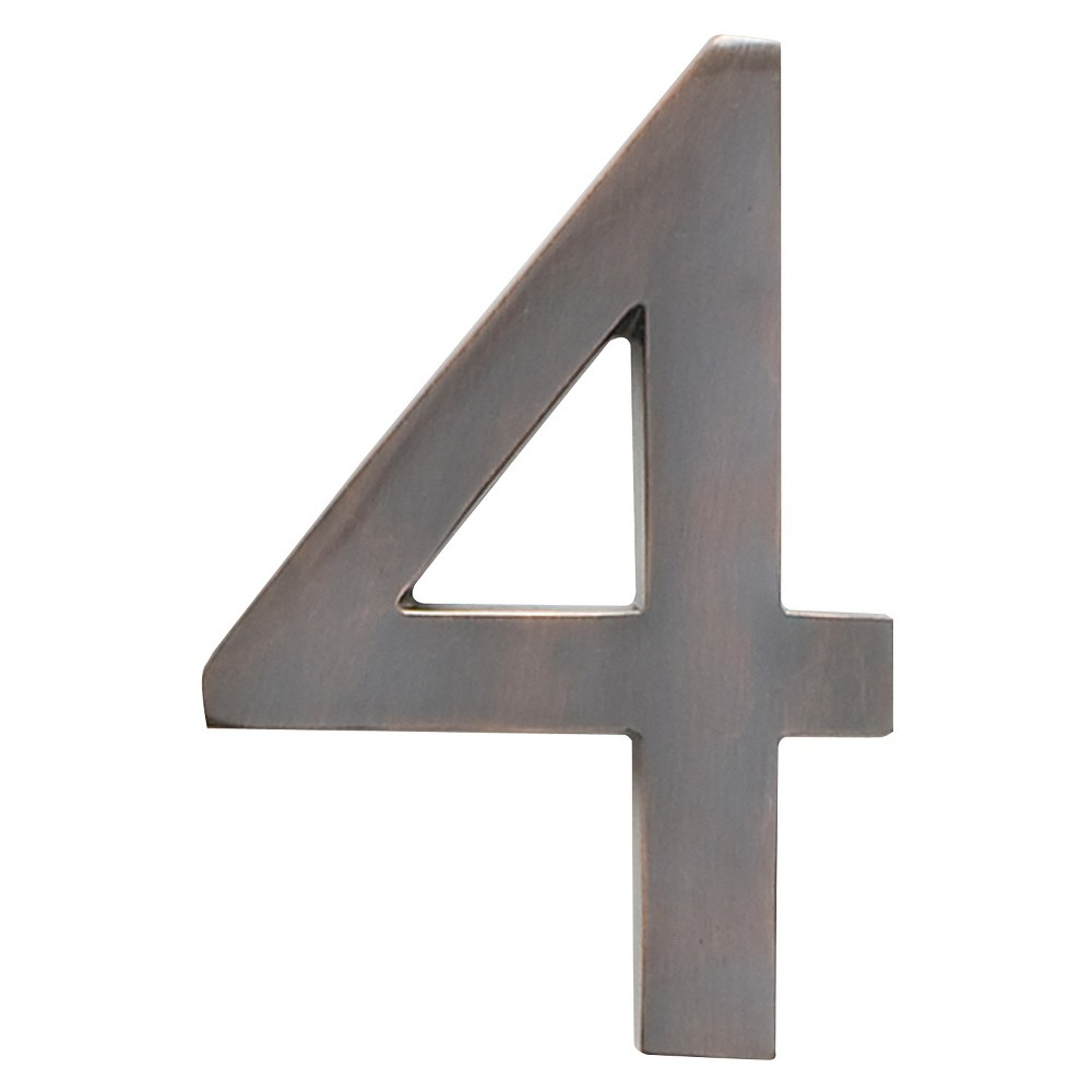 Architectural Mailbox 4 Cast Floating House Number 4 Dark Aged Copper