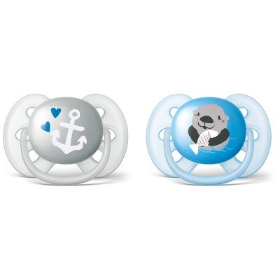 Philips Avent Ultra Soft Pacifier 6-18m - Anchor/Otter - 2pk