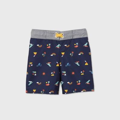 Toddler Boys' Icons Print Swim Trunks - Cat & Jack™ Navy