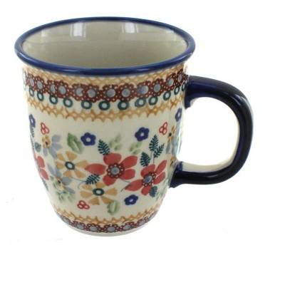 Blue Rose Polish Pottery Red Daisy Coffee Mug
