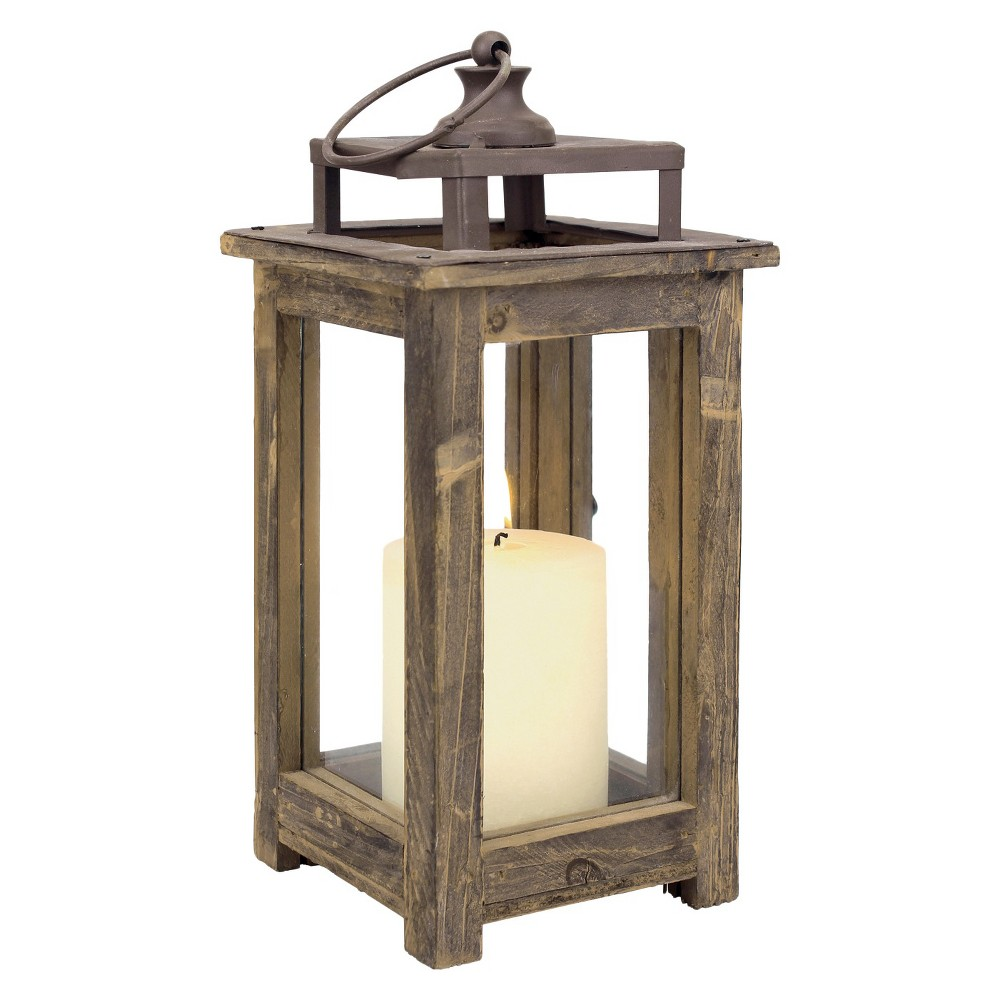"Image of ""11.8"""" Rustic Wood Lantern Candle Holder - CKK Home Decor, Brown"""