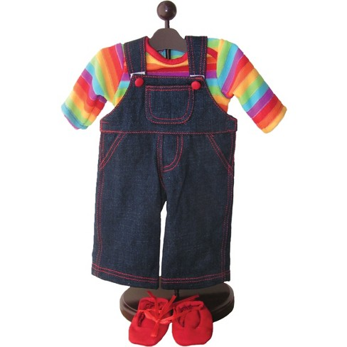 The Queen's Treasures® 15 Inch Baby Doll Clothes, Twin 4pc Denim Overalls, Rainbow Shirt, Bitty Shoes - image 1 of 4